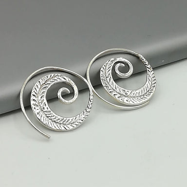 Spiral silver hoops | Indian ear wires | Bohemian | Sterling Silver | Ethnic | gift | E68 - by OneYellowButterfly