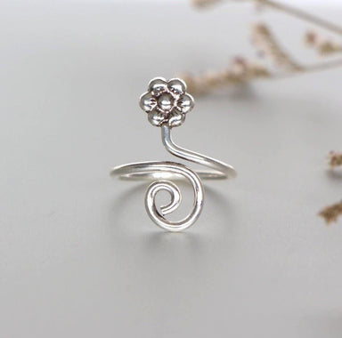 Rings Spiral Silver Toe Ring Flower WireToe Boho Jewelry Delicate Foot Accessories Gifts For Her (TS97)