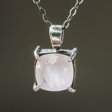 Square faceted Rose quartz gemstone pendant necklace in silver bezel and prongs setting multi-pink sapphire on the side chain - by Metal