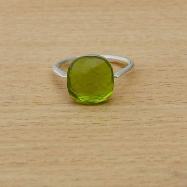 Rings Square Peridot Quartz Gemstone Ring 925 Sterling Silver Artisan Handmade August Birthstone Gift Jewelry