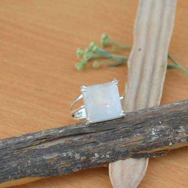 Rings Square Rainbow Moonstone Gemstone Ring Solid 925 Sterling Silver June Birthstone Classic Gift All Sizes