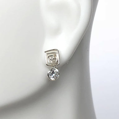 earrings Square Studs Spiral Crystal Jewelry,Minimalist Style Hypoallergenic Rhinestone Drops Best Friend Gift G18 - by NeverEndingSilver