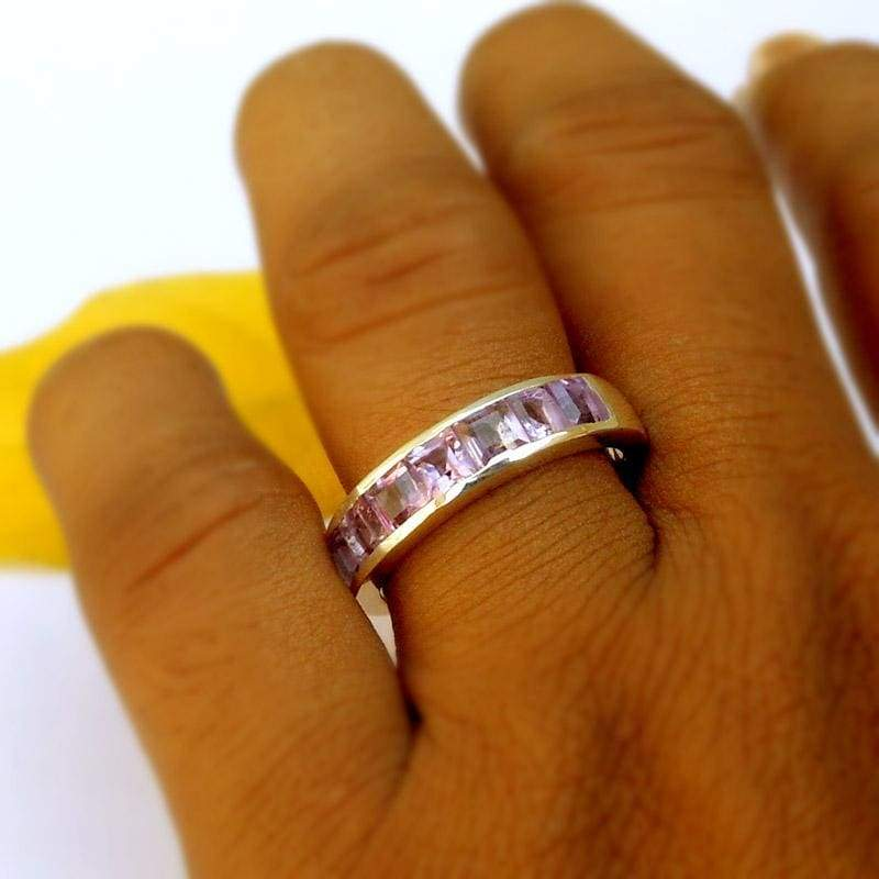 Rings Sterling silver Amethyst Half Eternity Band Ring Wedding Birthstone for her