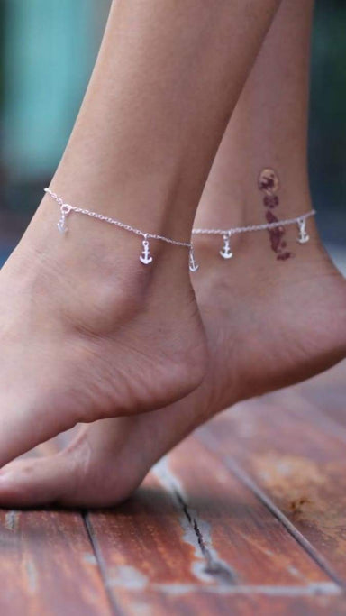 Anklets Sterling silver anklet Anchor charm Nautical Silver foot chain Anklet,(AS 7)