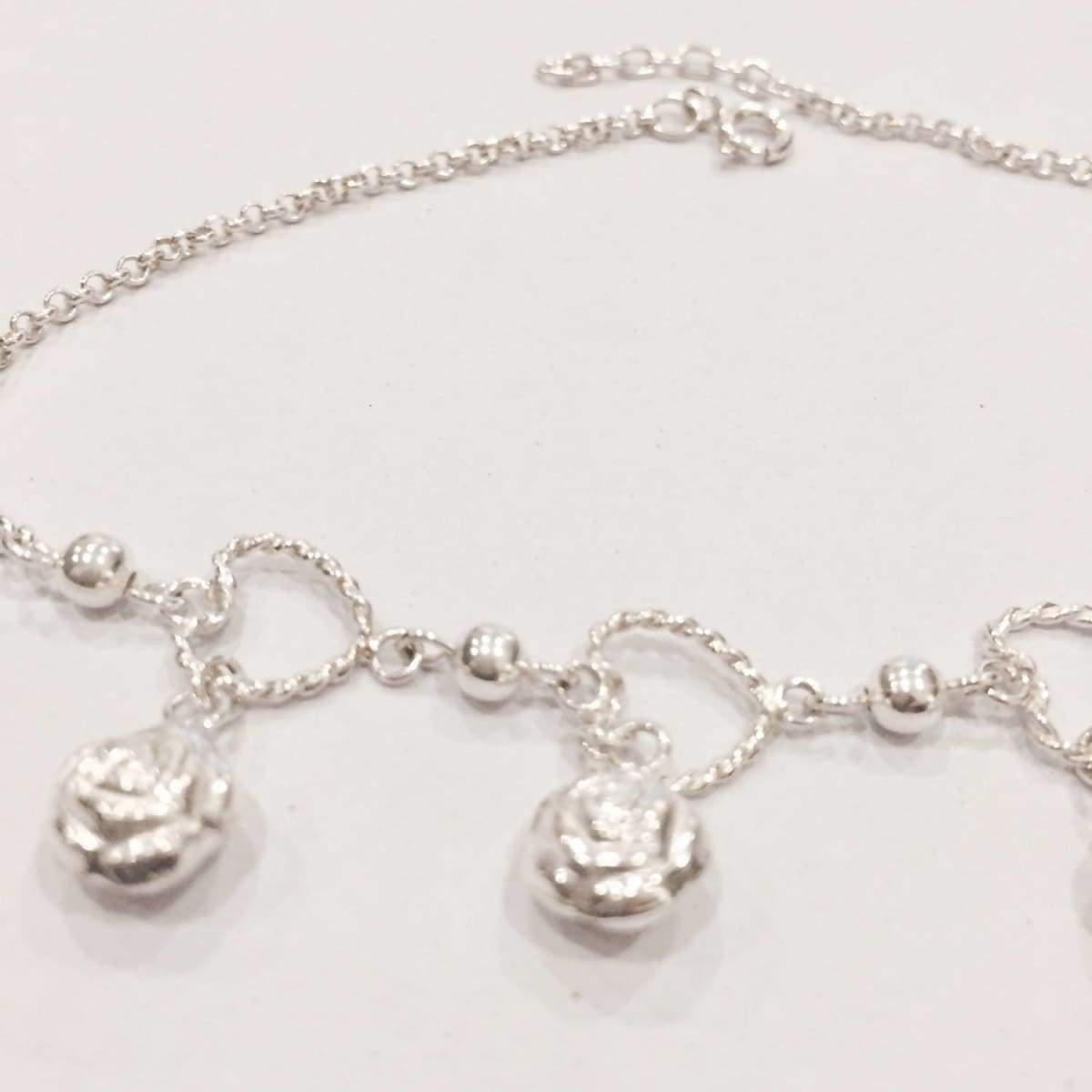 Anklets Sterling silver anklet Silver rose and hearts charm,Rolo chain,Delicate foot chain Anklet,(AS 30)