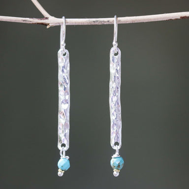 Sterling silver bar earrings with hammer textured and turquoise beads on hooks style - by Metal Studio Jewelry