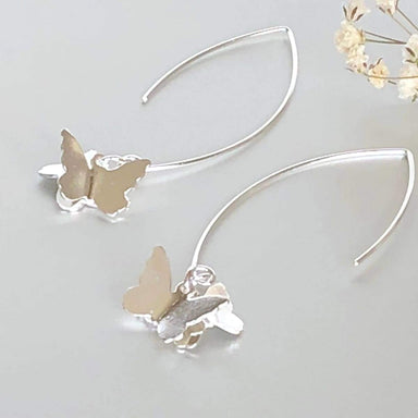 Earrings Sterling Silver Butterfly Hoops Gypsy Bohemian Ear Funky Gift (E150)
