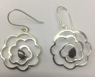 Earrings Sterling Silver Flower Shape Earring with garnet - by TJ GEMS