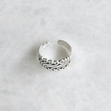 Toe Rings Sterling silver funky wave toe ring - by SilverCartel