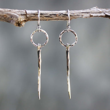 Sterling silver hammer texture circle shape earrings with brass sticks on oxidized sterling hooks - by Metal Studio Jewelry