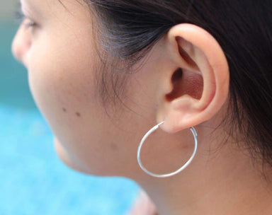 Earrings Sterling Silver Hoop Earrings,30mm Cartilage Hoops Body Jewelry Classic Ear Hippie Style Hoops,(E22)