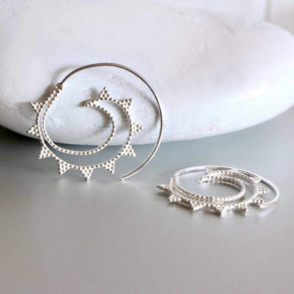 Earrings Sterling Silver Hoops Minimalist Spiral Earrings. Wire Simple Gifts For Her Bohemian E128