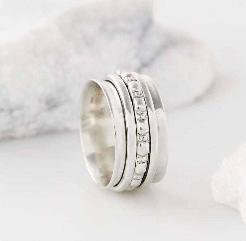 rings Sterling silver Spinner Rings,Spinning Rings,Thumb Rings Fidget Rings,Chunky Rings,Boho Rings,Meditation Rings,Spin Rings,Anxiety - by