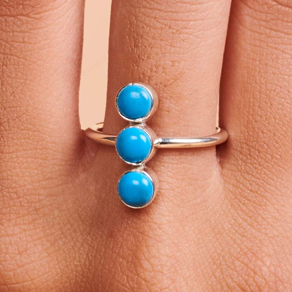 Rings Sterling Silver Three Arizona Turquoise Ring Sleeping Beauty Gemstone Gift for Women Handmade Jewelry Boho Dainty - by