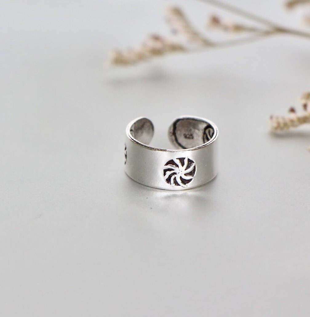 Rings Sterling Silver Toe Ring Adjustable Simple Gift For Her Bohemian Minimal Band (TS75)