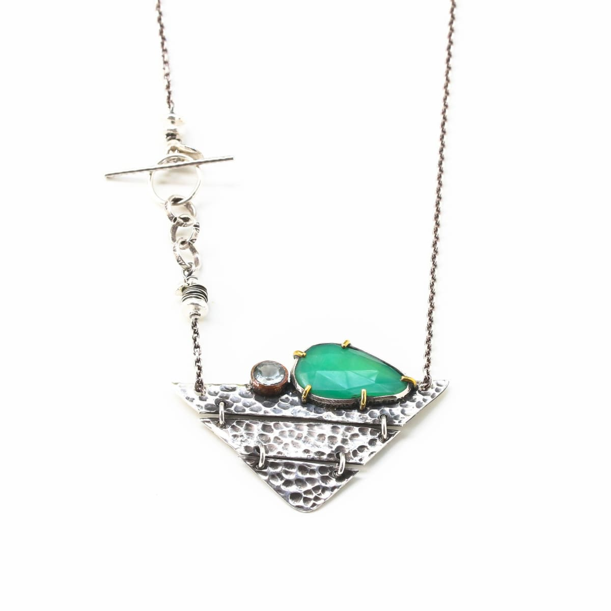 Necklaces Sterling silver triangle hammer texture folding accordion pendant necklace with Chrysoprase and blue topaz in copper bezel setting
