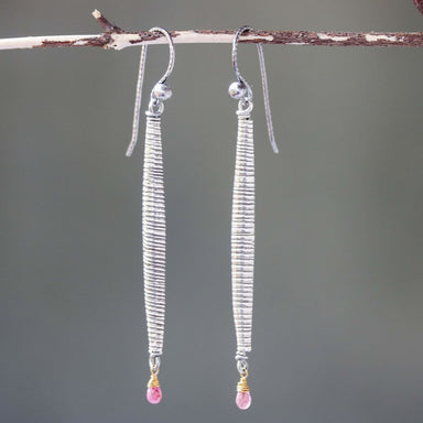The sterling silver tube earrings in oxidized textures and ruby with hook style - by Metal Studio Jewelry
