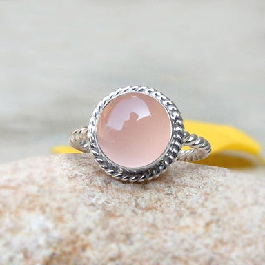 Rings Sterling silver twisted band rose quartz ring Healing crystal Gemstone Ring