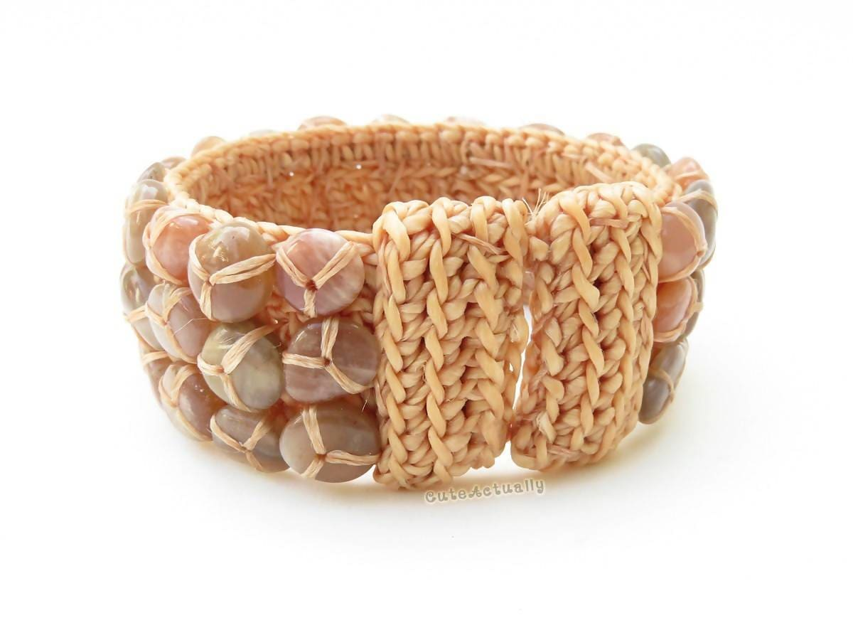 Bracelets Stone bangle with beige wax thread pink brown stone bracelet free size