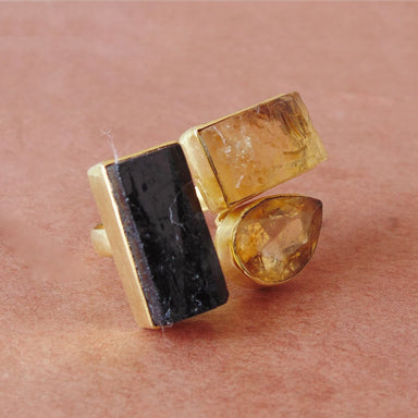 Stunning 18K Gold Plated Black Tourmaline And Crystal Quartz Rough Gemstone Large Cocktail Ring - by Bhagat Jewels