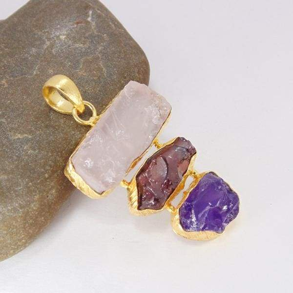 Stunning Yellow Gold Plated Rose Quartz Amethyst And Garnet Statement Pendant