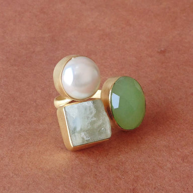 New Style 18K Gold Plated Aqua Chalcedony Pearl & Fluorite Gemstone Designer Ring - by Bhagat Jewels