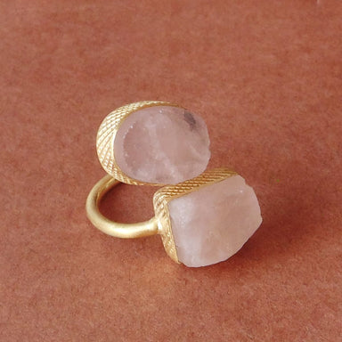 New Style 18K Gold Plated Natural Rose Quartz Birthstone Finger Ring - by Bhagat Jewels