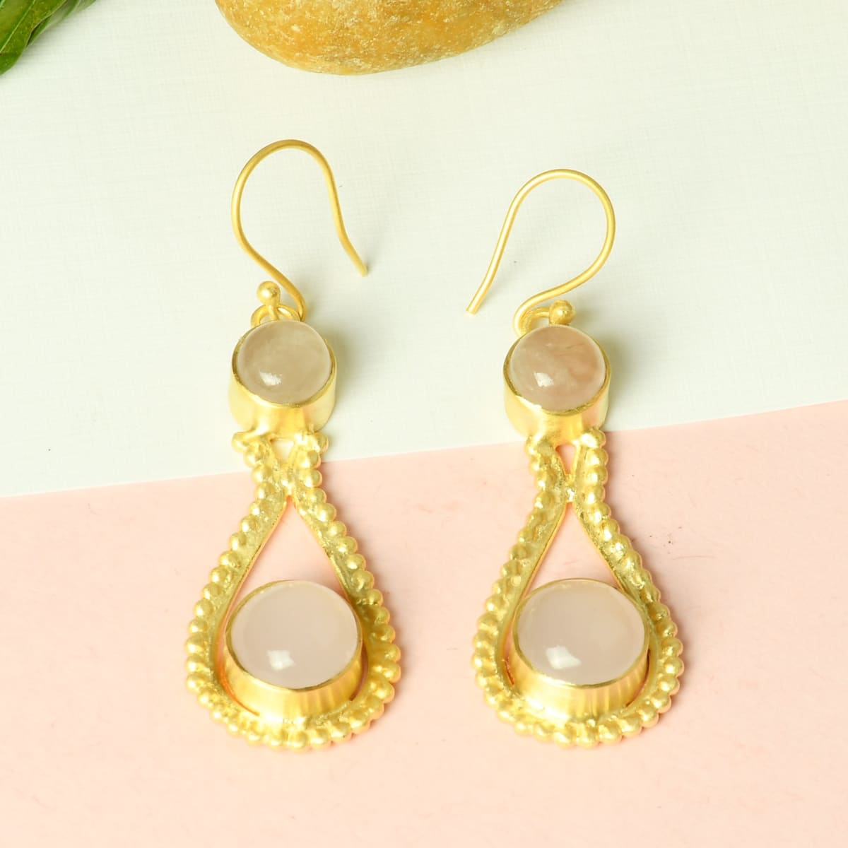Super Quality 18K Matte Gold Plated Natural Rose Quartz Gemstone Mom Birthday Gift Earrings - by Bhagat Jewels