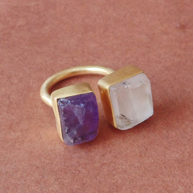Super Quality Amethyst And Crystal Quartz Double Gemstone Adjustable Ring - by Bhagat Jewels