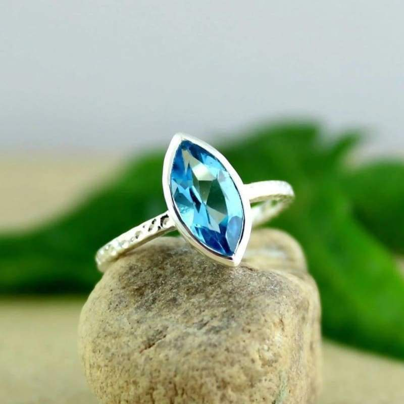 Swiss Blue Topaz Silver Gemstone Ring - Rings