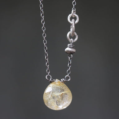 Necklaces Teardrop faceted golden Rutilated quartz pendant necklace with silver ring secondary on oxidized sterling cable chain