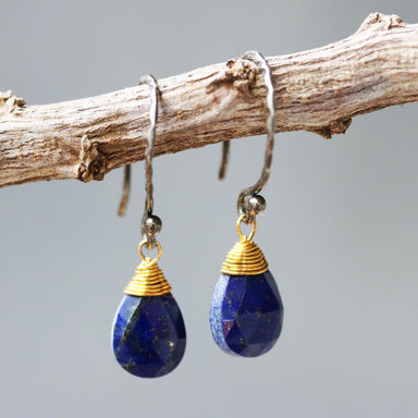 Teardrop faceted lapis lazuli earrings with brass wire wrapped and oxidized sterling silver hooks style - by Metal Studio Jewelry