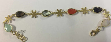 Bracelets Teardrop Multi Stone with Silver Flower Part Bracelet 18 CRT Gold Plated Sterling - by TJ GEMS