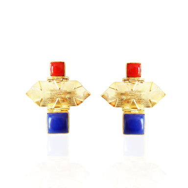 Textured Gold Plated Lapis Lazuli And Red Coral Gemstone Drop Earrings - by Bhagat Jewels