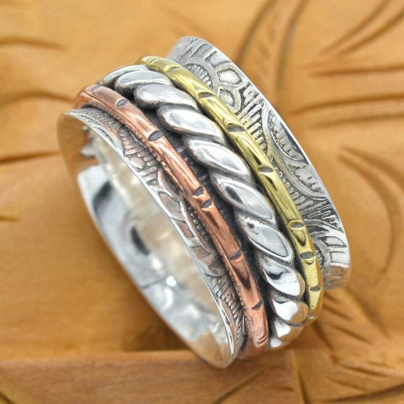 Rings Textured meditation ring three tone spinner silver spinning 925 sterling statement fidget Silver jewelry