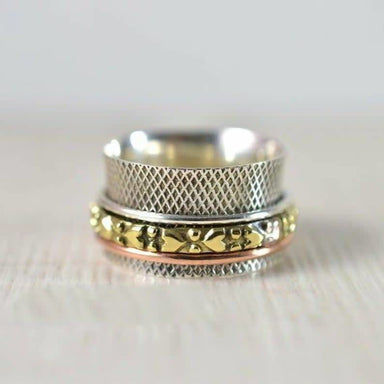 Rings Textured spinner ring Finger & thumb 925 sterling silver spinning meditation Gold color jewelry