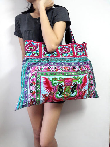 Thai Embroidered Ethnic Shoppers Hmong Tote Bag - by lannathaicreations