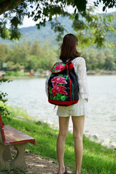 Thai Embroidered Hmong Shoulder Backpack - by lannathaicreations
