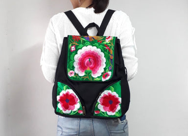 Thai Embroidered School Backpack - by lannathaicreations