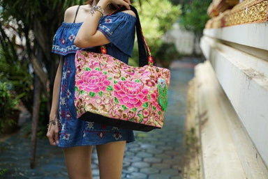 Thai Embroidered Shoppers Handbag with Tassel - by lannathaicreations