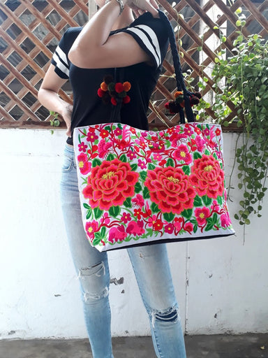 Thai Embroidered Shoppers Tote Bag - by lannathaicreations