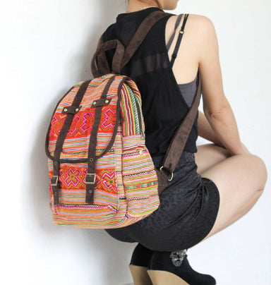 Thai Embroidered Shoulder School Backpack - by lannathaicreations