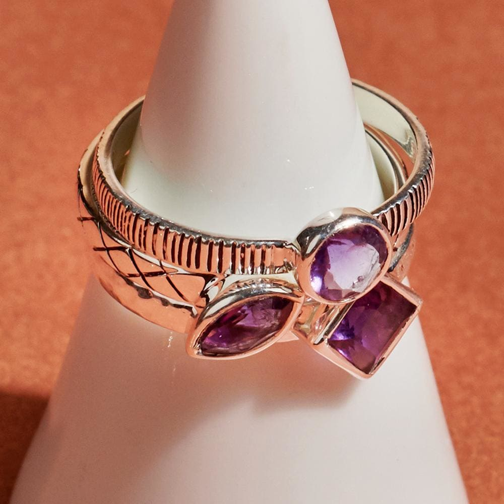Rings Three Multi-Shaped Stackable Purple Amethyst Silver - by Maya Studio