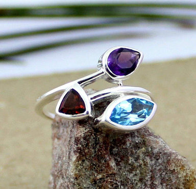 Rings three stone ring sister blue topaz garnet amethyst