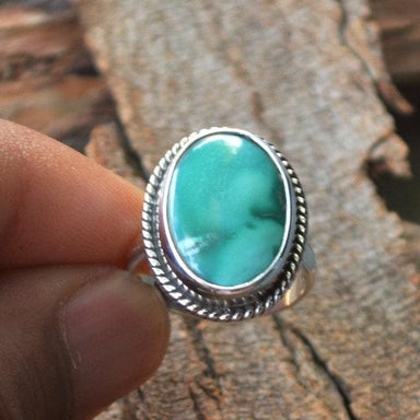 Rings Tibetan Turquoise Gemstone and 925 Sterling Silver Handmade Ring