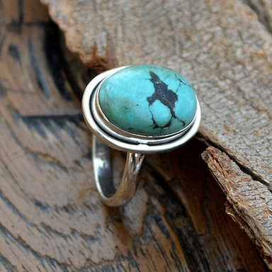 Rings Tibetan Turquoise Ring 925 Sterling Silver Green Gemstone