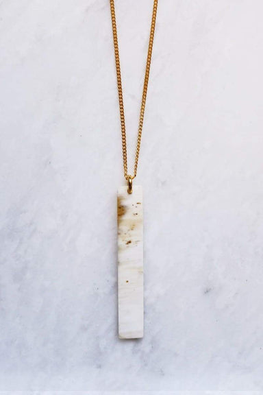 Tinh 16K Gold-Plated Brass Buffalo Horn Minimalist Bar Pendant Necklace - Handcrafted & Unique Buffalo Horn Jewelry