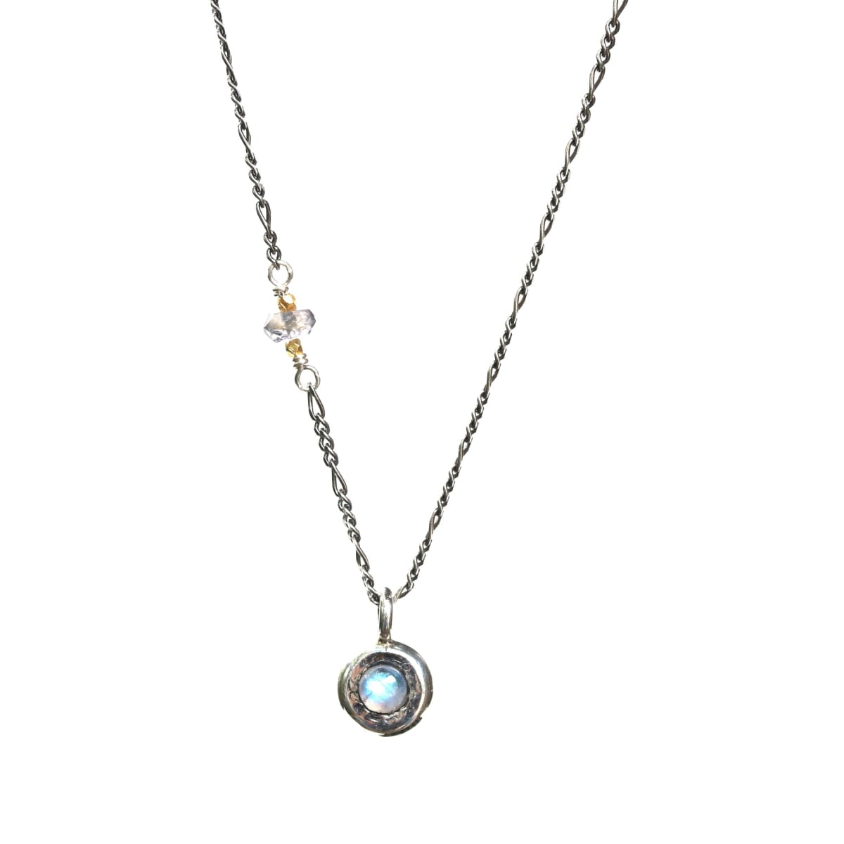 Tiny round cabochon Moonstone pendant necklace with iolite beads on the side - by Metal Studio Jewelry