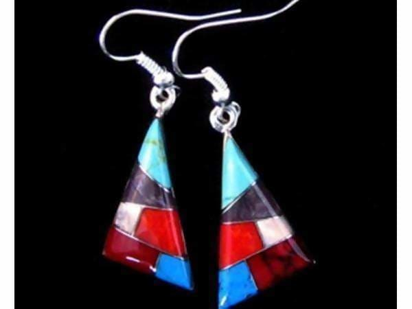 earrings Tiny Stone Mosaic Triangular Earrings ED-3-104 FAST SHIPPING! - by Artesanas Campesinas