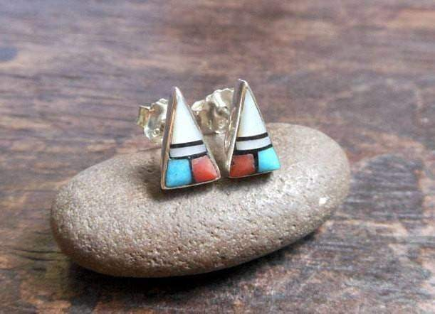 Earrings Tiny Unique Multi Color Silver Triangle Stud With Four Stones,Geometric Earring,Pierced Earrings,Personalized Gifts,Gifts For Her
